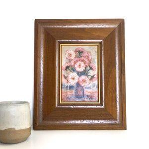Vintage Mini Oil Painting Pink Flowers Wood Framed